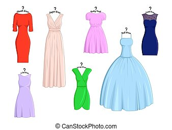 Types of dresses - Set of different types of dresses with...