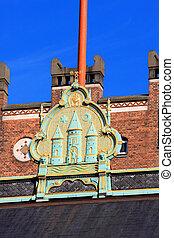 details on the City Hall, Copenhagen, Denmark