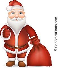 Santa Claus and a bag of gifts - Santa Claus with bag gift...