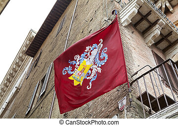 Contrade of Siena, Tuscany, Italy - Contrada flag of Torre,...