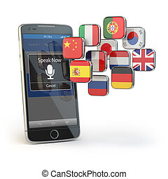 Mobile dictionary or translator concept . Learning languages...