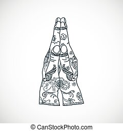 Element yoga mudra hands namaste with mehndi patterns....