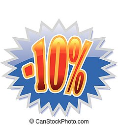 10 discount label - Blue discount label with red -10 Vector...