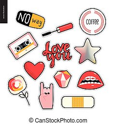 Set of contemporary girly patches elements