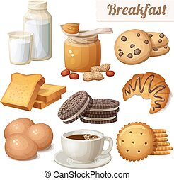 Breakfast 3. Set of cartoon vector food icons isolated on white background