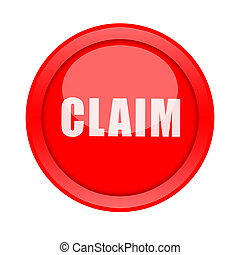 Claim button - Claim big red round button isolate on white...