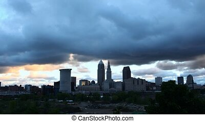 Timelapse of dark clouds over Cleveland at dawn