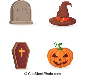 Grave, coffin, pumpkin and witch hat. - Halloween party...