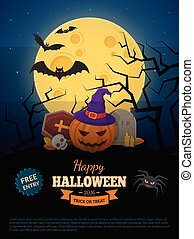 Laughing pumpkin in witch hat. - Halloween party background...