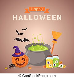 Witch potion and ingredients. - Halloween party background...
