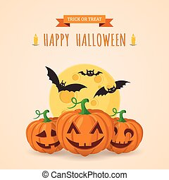 Pumpkins and bats. - Halloween party background design. Eps...