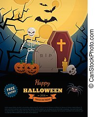 Old grave in forest. - Halloween party background design....