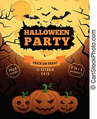 Spooky pumpkins and full moon. - Halloween party background...