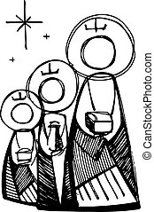 The three wise men - Hand drawn vector illustration or...