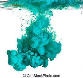 Blue paint in water