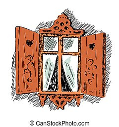 sketch of carved wooden decorative lace decoration window...