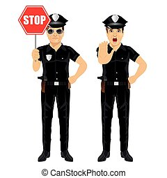 two policemen holding stop sign and showing stop gesture...