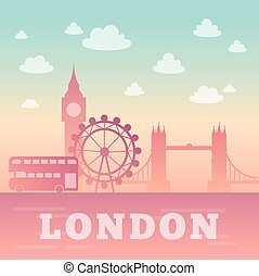 London city silhouette. - Romantic background with Capital...