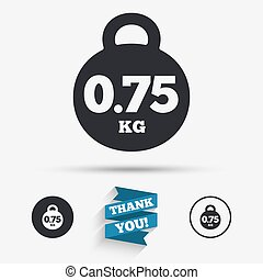Weight sign icon 075 kilogram Mail weight - Weight sign icon...