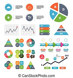 Weather icons Cloud and sun Storm symbol - Data pie chart...