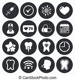 Tooth, dental care icons Stomatology signs - Calendar, wifi...