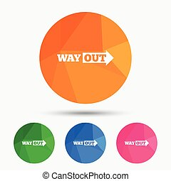 Way out right sign icon. Arrow symbol. Triangular low poly...