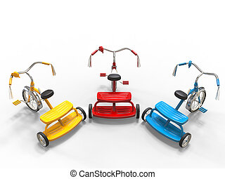 Red, blue and yellow tricycles - top view