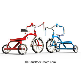Red and blue tricycles - studio shot