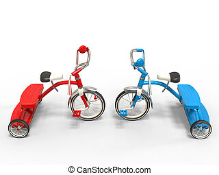 Red and blue tricycles - head to head