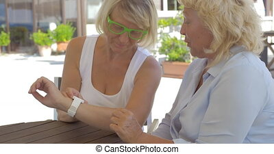 In city of Perea, Greece two adult women learning how...