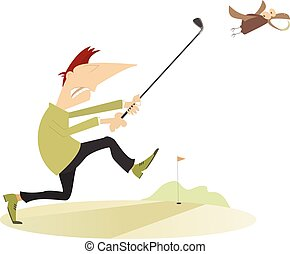 Angry golfer runs for the bird which stealing his golf ball