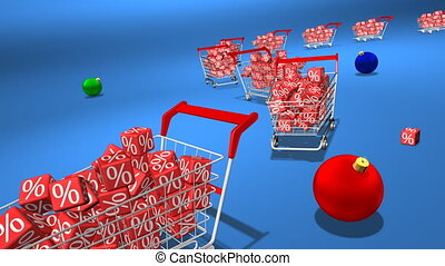 Christmas shopping - Shopping carts with red cubes. Concept...