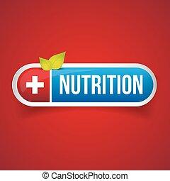 Nutrition button vector icon