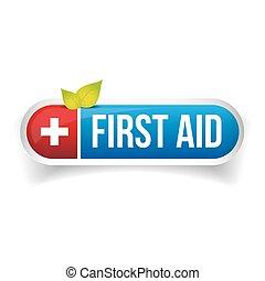primero, ayuda, icono, botón, vector