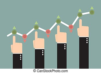 Hands pushing the business graph up.