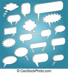 chat bubbles blue - Image of various chat bubbles.