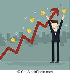 Businessman and growth chart ,a lot of money. Chart growth and success concept. Cartoon Vector Illustration.