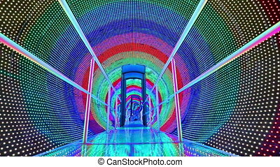 rainbow light tunnel with door