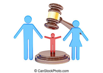 divorce and custody child concept with gavel and family, 3D rendering