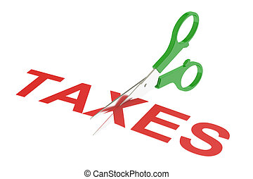 taxes concept, cutting taxes. 3D rendering isolated on white...