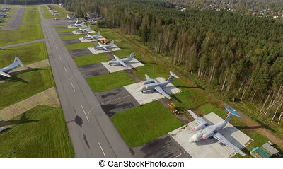 Small airport aerial view. on the field next to the runway,...