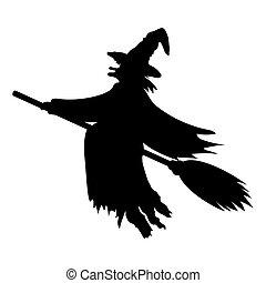 Scary witch flying - Scary witch witch flying on a broom on...