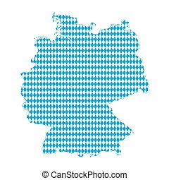 Map of Germany Bavarian flag - Map of Germany isolated on...