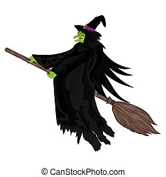 Scary witch flying on a broom - Scary witch witch flying on...