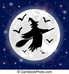 silhouettes of witches and bats - Silhouettes of witches and...