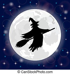 silhouette of a witch full moon - Silhouette of a witch on a...