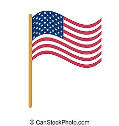 National political official US flag on a white background...