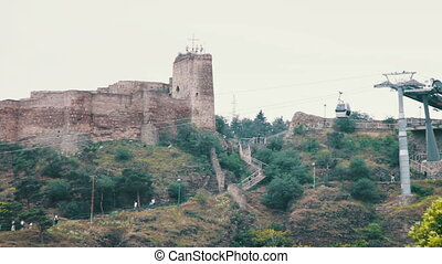 Cableway in Tbilisi, Georgia. Cable car operating in city on...
