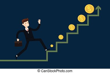 Businessman run in a growth, flat design