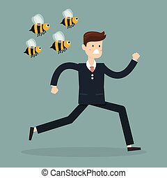 Cartoon businessman was attacked by swarm of angry wild bees and running away from dangerous insects. Insect sting allergy danger, healthcare concept design